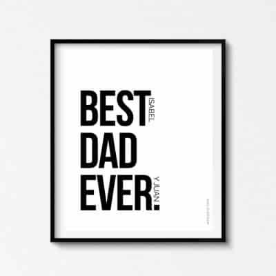 Lámina Best Dad Ever Personalizable - Ilustración